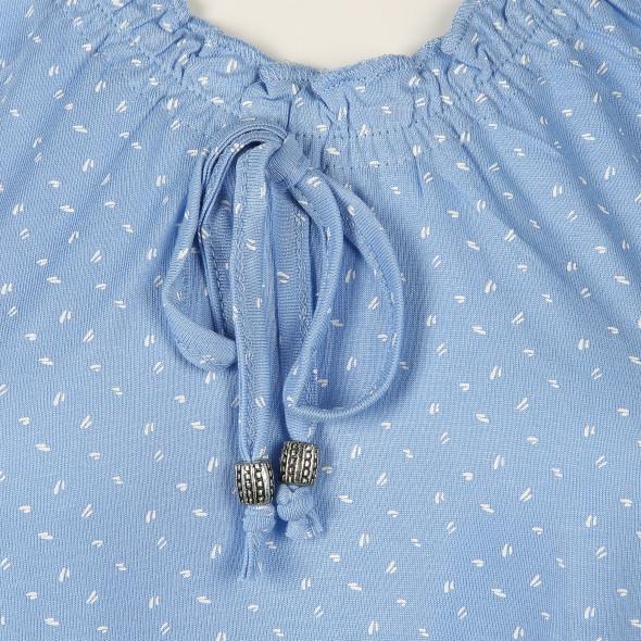 Damen Shirt mit Gummizugausschnitt und Kordel