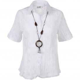 Damen Crinkle Bluse mit Halskette