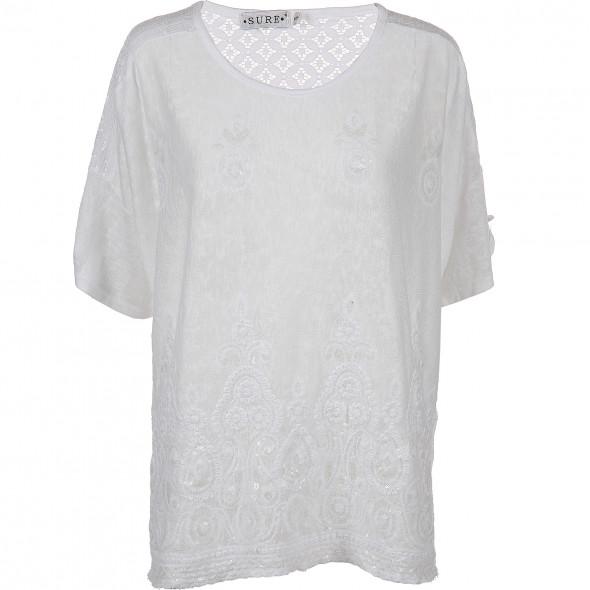 Damen Shirt in Leinen Optik mit Pailletten