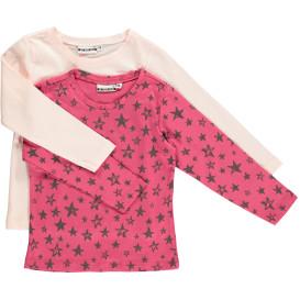 Mädchen Shirts im 2er Pack, uni und mit Sternen