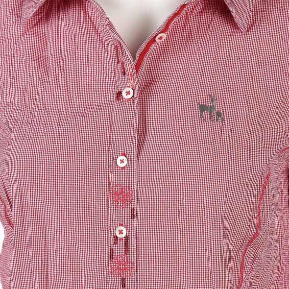 Damen Landhaus Bluse mit Minikaros und Krempelarm