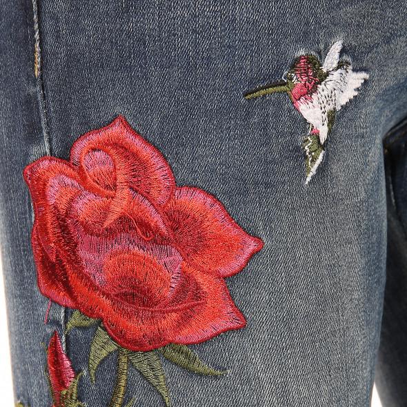 Damen Hose mit floraler Stickerei