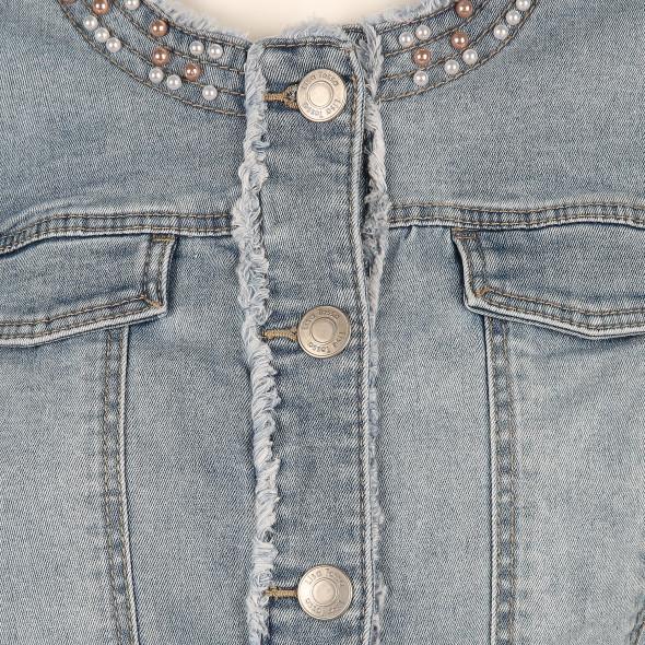 Damen Jeansjacke mit Fransenoptik