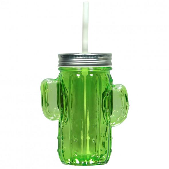 Trinkglas mit Strohhalm - Kaktus