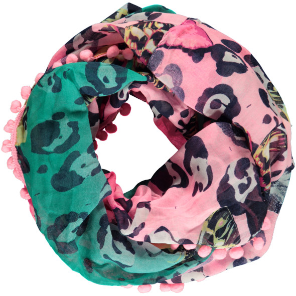 Damen Loop Schal mit Bommeln
