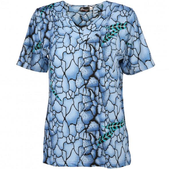 Damen Shirt mit Strassbesatz und effektvollem Muster