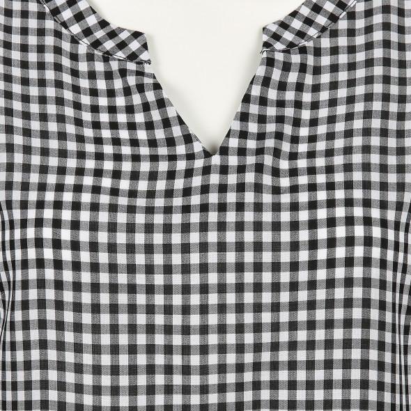 Damen Vichykaro Bluse mit 3/4 Arm