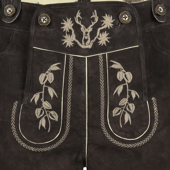 Herren Lederhose mit traditioneller Stickerei