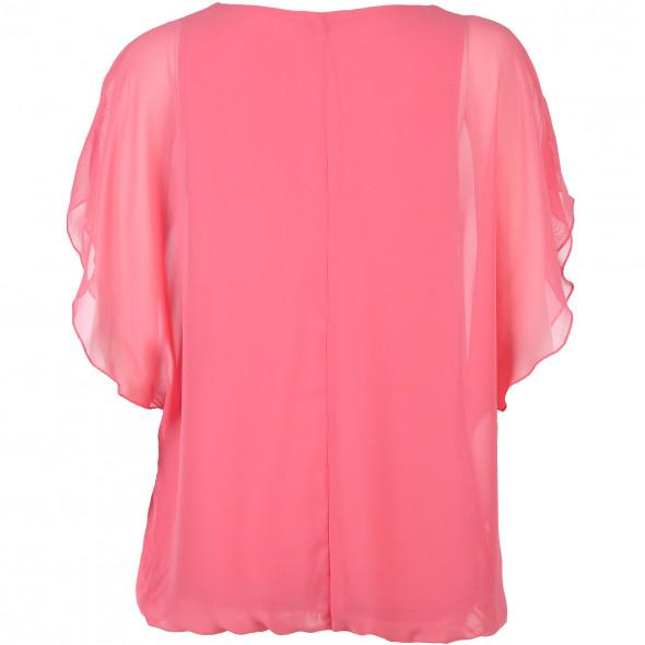 Damen Blouson Bluse mit V-Ausschnitt