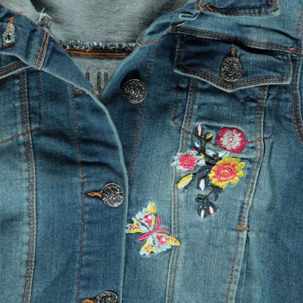 Mädchen Jeansjacke mit Blumenstickerei