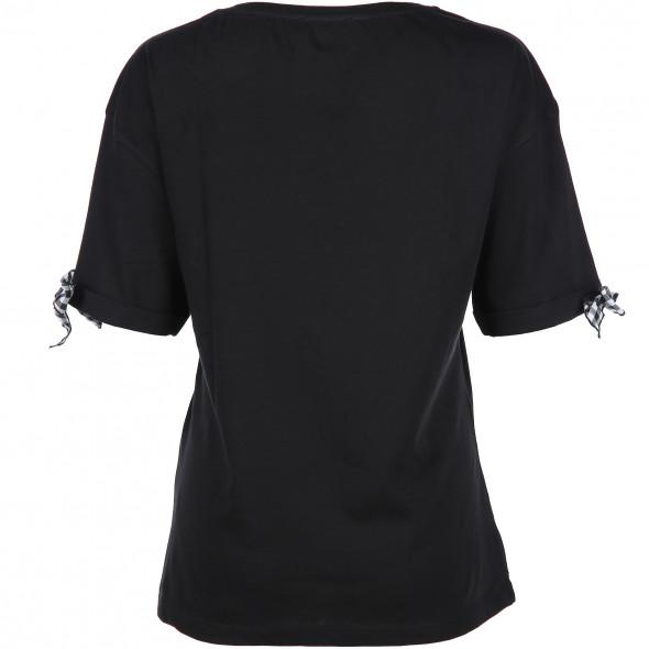 Damen T-Shirt mit kleinen Schleifen am Ärmel
