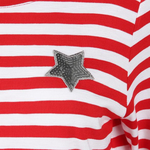 Damen Shirt im Ringellook mit Pailletten
