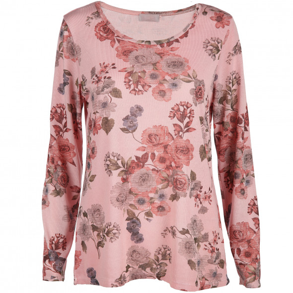 8bcd5e2447a003 Damen Langarmshirt mit floralem Print (Rosa) | AWG Mode
