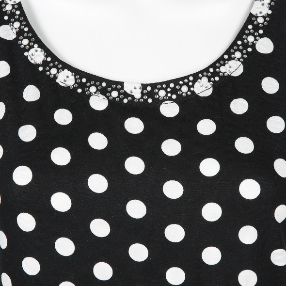 Damen Top mit Strass-und Perlenbesatz
