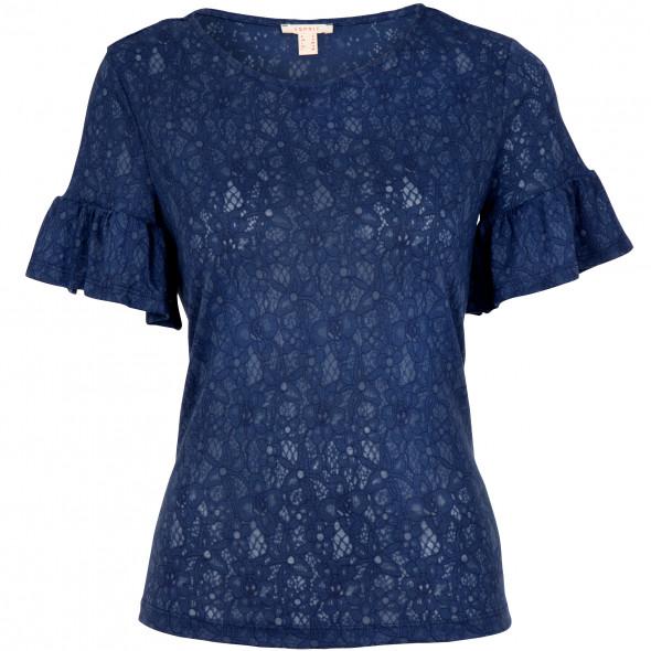 Damen Shirt in Ausbrenner Optik mit Trompetenärmel