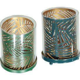 Teelichthalter aus Metall und Glas