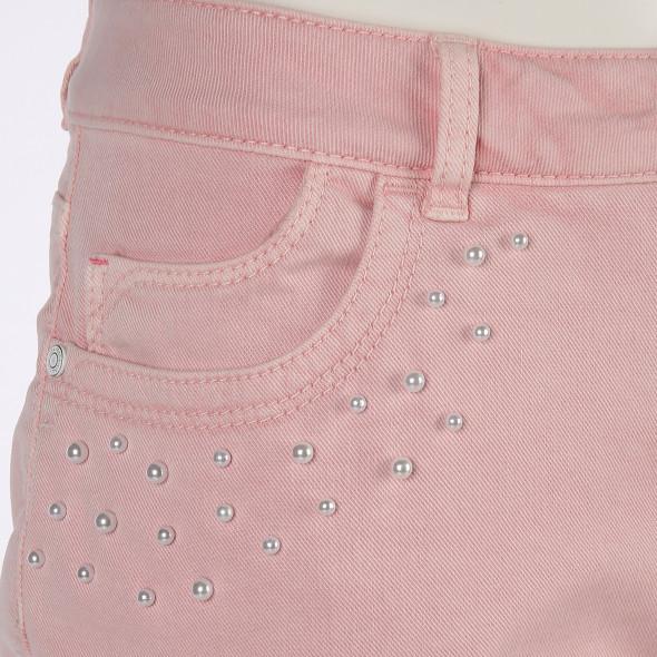 Damen Capri Jeans mit Perlenbesatz
