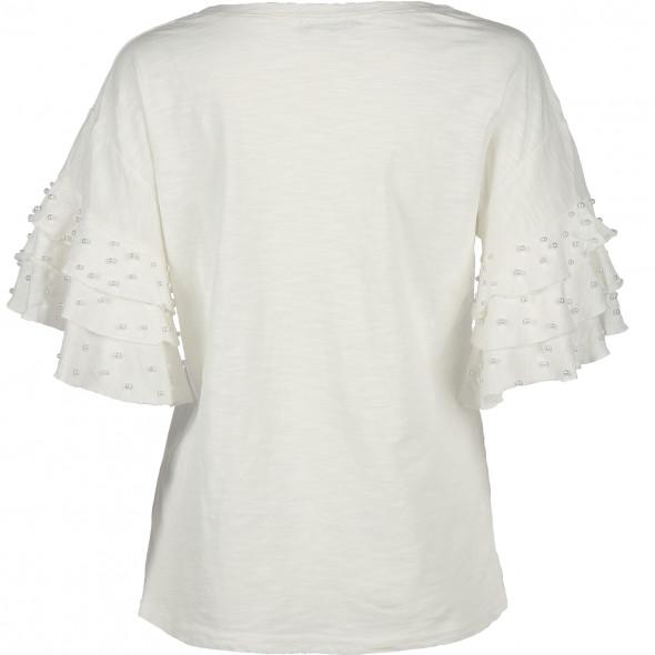 Damen Shirt mit Perlenbesatz am Trompetenärmel