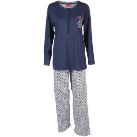 Damen Schlafanzug mit Print und Spitzenbesatz