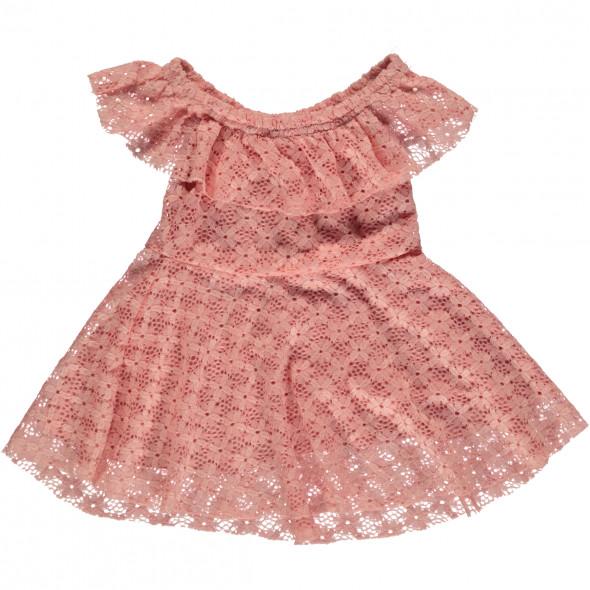 Mädchen Kleid aus Spitze mit Carmen-Ausschnitt