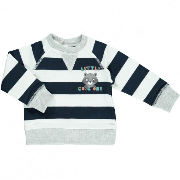 Baby Sweatshirt im Ringelllook mit Print