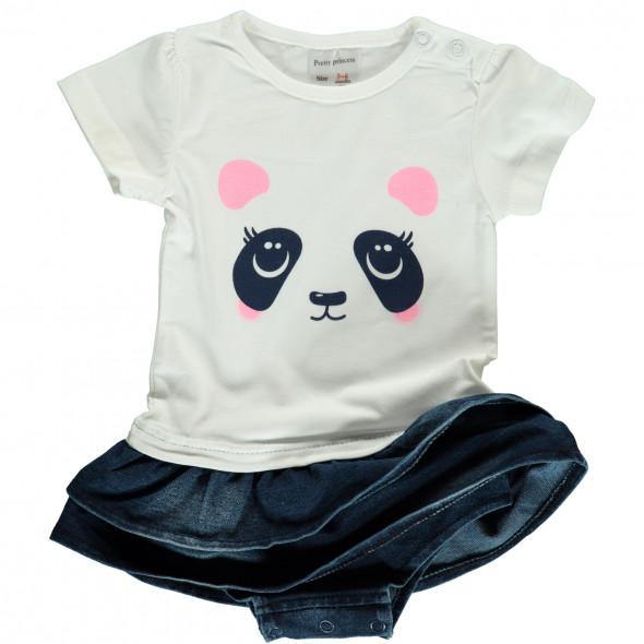 Baby Mädchen Strampler mit Panda Gesicht