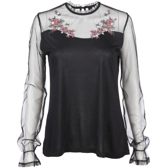 Damen Bluse mit zartem Netzeinsatz