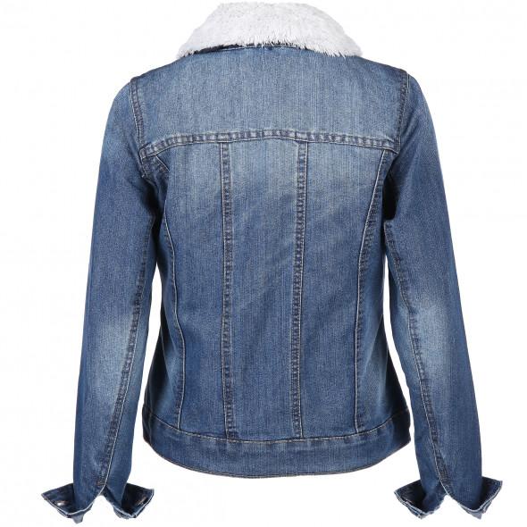 Damen Jeansjacke mit Webpelz- Innenseite