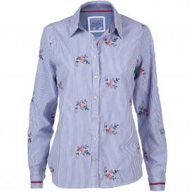 Damen Bluse mit Stickerei und zarten Streifen