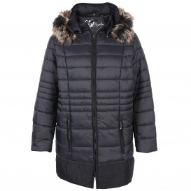 Große Größen Jacke mit abknöpfbarem Kunstfell