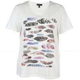Damen T-Shirt im Federprint und Strassbesatz