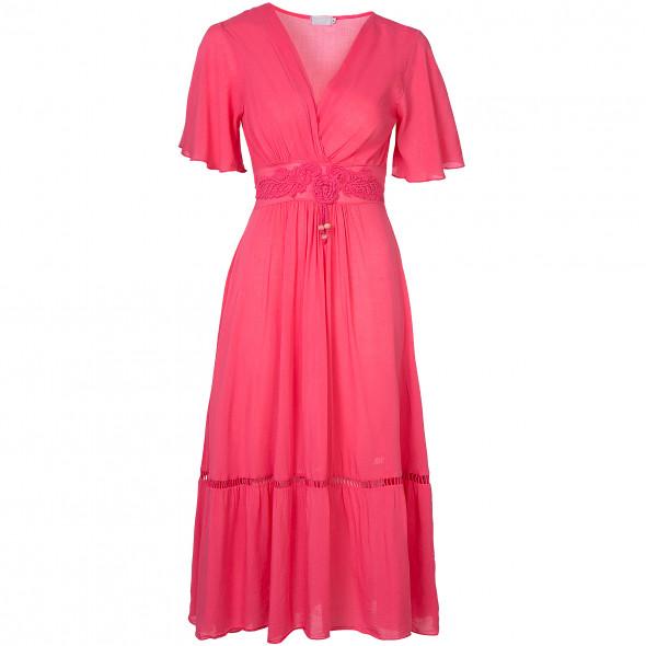 Damen Kleid mit Flügelärmeln und Spitze