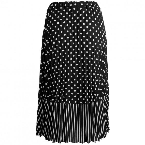 Damen Plisseerock in schwarz-weiß