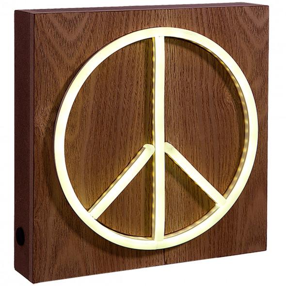 """Neon Lichtobjekt """"Peace"""" 21x21x5cm"""