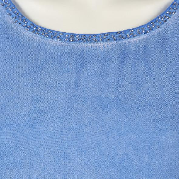 Damen Shirt mit Perlenkante am Ausschnitt