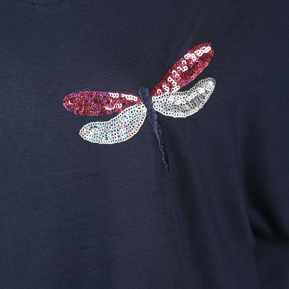 Damen Shirt mit Pailletten-Applikation