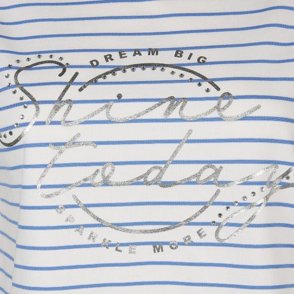Damen Shirt mit Streifen und Glitzer Print