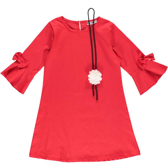 Mädchen Kleid mit Trompetenärmeln und Kette