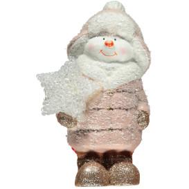 Schneemann aus Keramik mit LED 18cm hoch