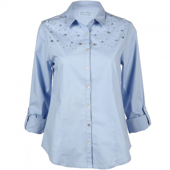 Damen Chambrey Bluse mit Zierperlen