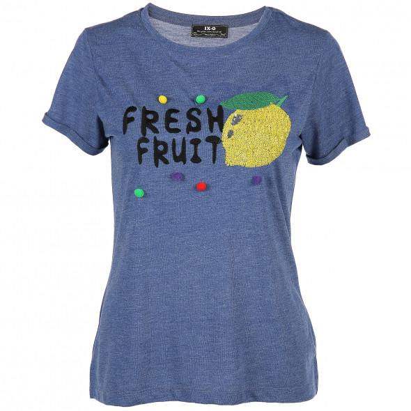 Damen Shirt mit Pailletten und Stickerei