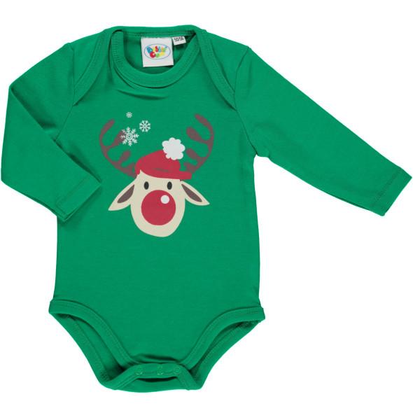 Baby Langarmbody mit Weihnachtsmotiv