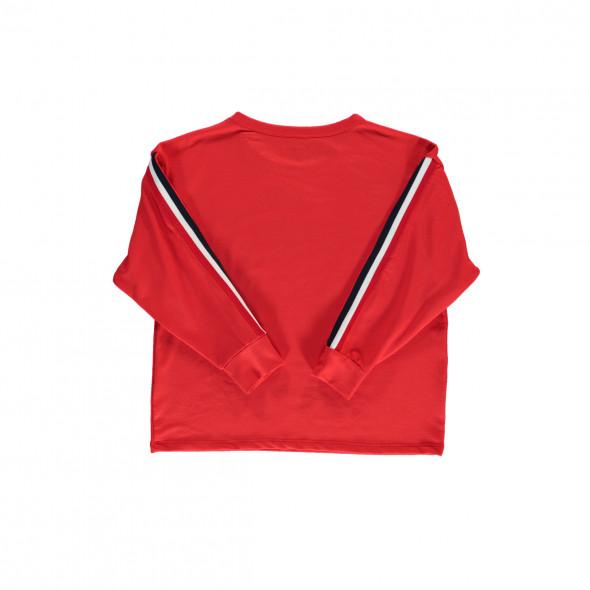 Mädchen Sweatshirt mit Galonstreifen am Ärmel