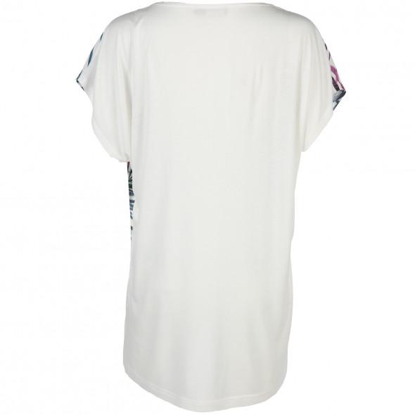 Damen Materialmix Shirt mit großem Print