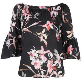 Damen Bluse schulterfrei mit Blumendruck