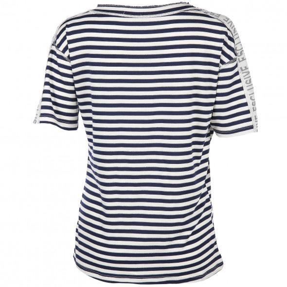 Damen Shirt in Ringel-Optik mit Glitzer
