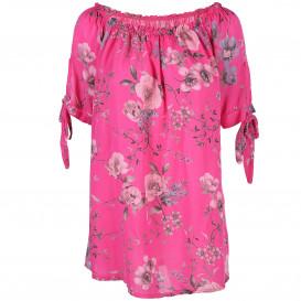 Damen Bluse mit Carmen Ausschnitt und floraler Optik