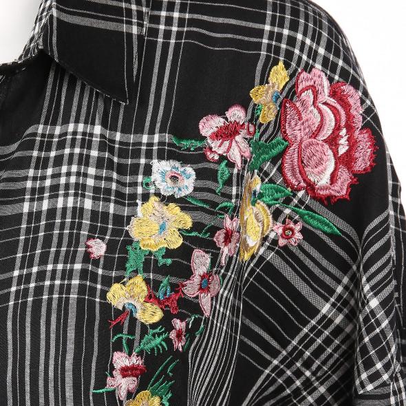 Damen Oversize Bluse mit Stickerei