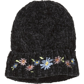 Damen Chenille Mütze mit Blütenstickerei