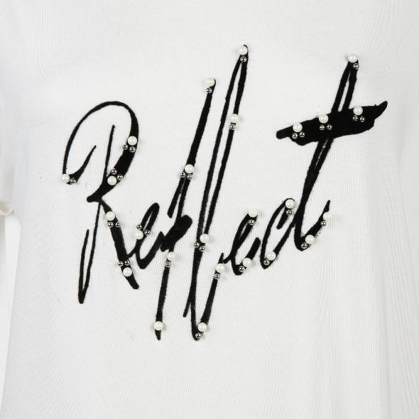 Damen Shirt mit Print und Perlenbesatz